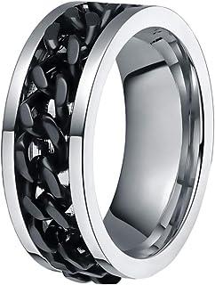 انگشتر طلا و جواهر چرخشی زنجیره ای فولادی تیتانیوم مردانه ناپو