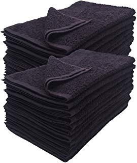 Cotton Salon Towels - Gym Towel - Hand Towel - (12-Pack, Black) - 16 inches x 27 inches - Ringspun-Cotton, Maximum Softness and Absorbency, Easy Care – by HomeLabels