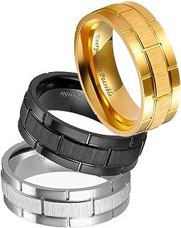 3 قطع خواتم الفولاذ المقاوم للصدأ للرجال نمط الطوب خاتم الزفاف 8 مم الذهب الأسود الفضة والمجوهرات