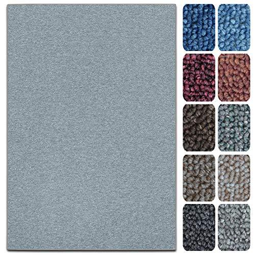 casa pura Teppich London   viele Größen   pflegeleichter Flacher Schlingenflor   Flurteppich, Wohnzimmerteppich, Küchenteppich, Schlafzimmerteppich (Hellgrau - 200x200 cm)