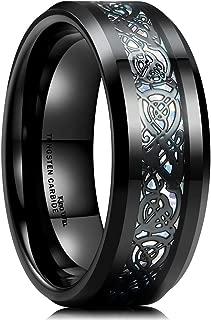Dragon 8mm Mens Celtic Dragon Tungsten Carbide Wedding Band Ring Black/Gold/Rose Gold/Blue/Opal/Green