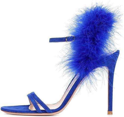 YT-ER Sandales Fantaisie à Talons Hauts Escarpins Chaussures Femmes, Bleu, 45
