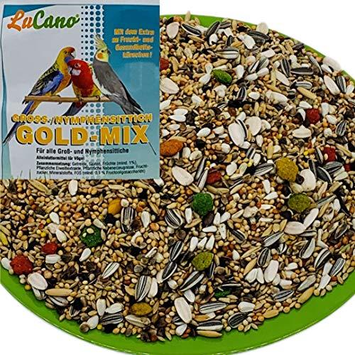 5 kg LuCano Gold Mix mit Früchten für Großsittiche | Nymphensittiche | Vogelfutter
