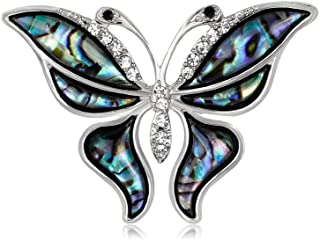 Silver Bejeweled Butterfly Pin with Abalone Wings