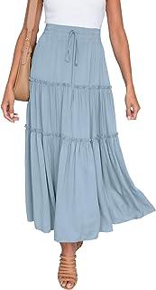 Ruffle Shuffle Maxi Cotton Skirt  Oversize Summer Maxi Skirt with Pockets  Women Long Elegant Skirt