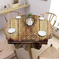 Victorian Decor Tablecloth - 70 Inch Round Table Cloth Dinner Antique Clock on Medieval Style Wall Wooden Floor Classic Architecture Theme Art Daily use Beige Brown