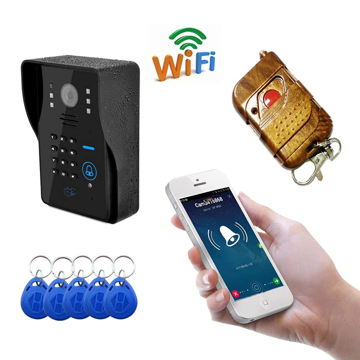 JINPENGPEN WiFi Intelligent Video doorbell Telephone intercom System Video Door Night Vision Function Electronic Control Unlock Home Monitoring