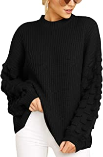 Sovoyontee Women's Casual Crewneck Loose Fitting Chunky Knit Pullover Sweater