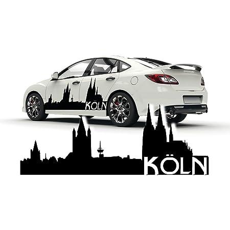 Kölner Skyline Tattoo Autoaufkleber Kölner Dom Silhouette Mit Schriftzug Stadt Sticker Skd019 Baumarkt