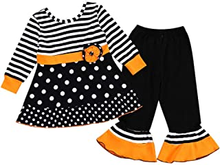 2PCS Toddler Baby Girls Outfits Set Halloween Costume Dot Striped Tops Dress and Pants Halloween Carnival Dress Up