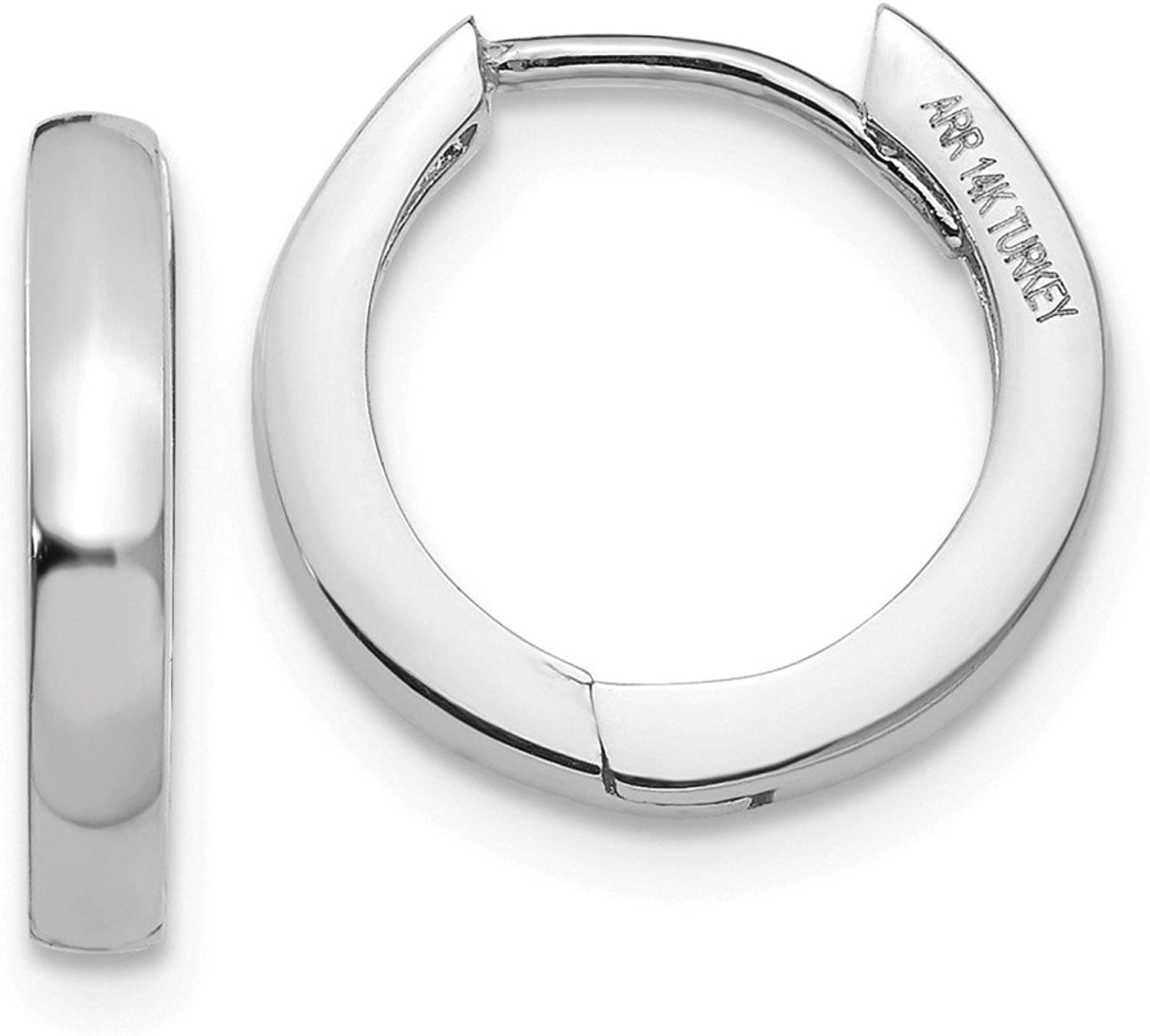 14K White gold Hinged Hoop Earrings