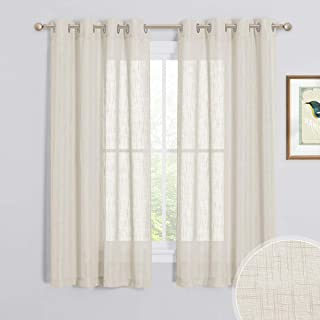 RYB HOME Privacy Sheer Curtains - Contemporary Linen Textured Sheer Farmhouse Curtains for Bedroom, Sunlight Filtering Airy Window Treatment Drapes, 52 x 63-inch Each, 2 Panels, Warm Beige