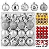 Zogin Adornos de Adornos navideños Bolas de árboles de Navidad Decoraciones para Navidad Decoración y Fiestas (Plata, 32piezas-6cm)
