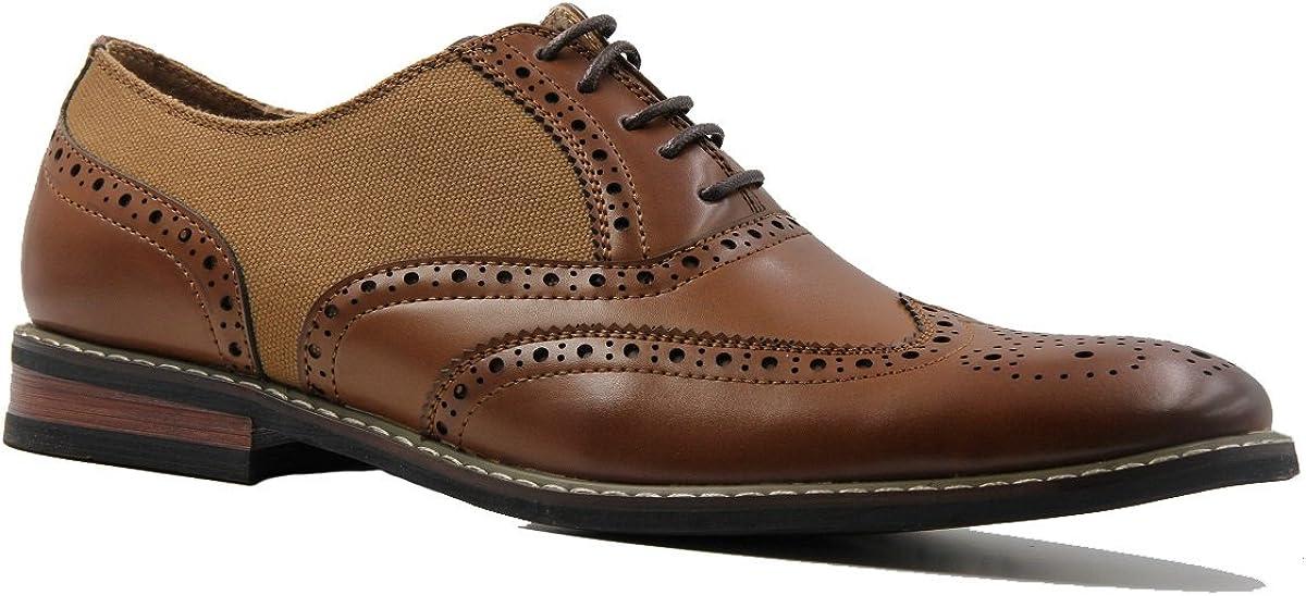 Men's Textured Sides Faux Leather Laser Cut Lace Up Oxford Shoes