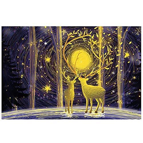 Rompecabezas de madera para adultos, 500 unids Rompecabezas Luna y ciervos, paisaje de bricolaje, montaje de pinturas para padres niños juguetes