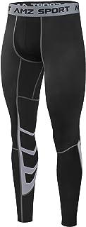 AMZSPORT di Sport degli Uomo Compressione Calzamaglia Baselayer Pantaloni Leggings Sportivi