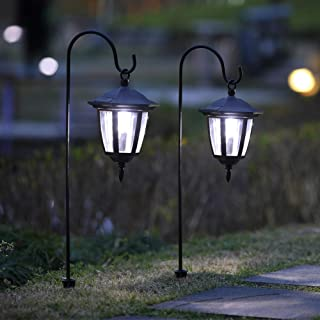 MAGGIFT 26 Inch Hanging Solar Lights Dual Use Shepherd Hook Lights with 2 Shepherd Hooks Outdoor Solar Coach Lights, 2 Pack