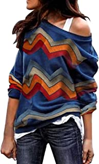 Sunhusing Ladies Colorful Geometric Wavy Stripe Print Long Sleeve Round Collar Off Shoulder T-Shirt Top Beige
