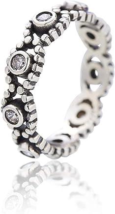 Epinki 925 Sterling Silver Women Anniversary Wedding Engagement Band Vintage Round Diamond Ring
