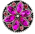Rockin Angels Silver Hot Pink Rhinestone Flower 20mm Snap Charm Interchangeable Jewelry For Ginger Snaps