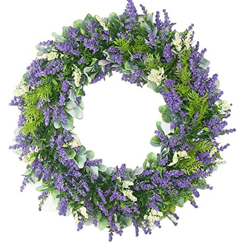 Delicaft Plastic Green Leaves Wreath - 16' Artificial Lavender Wreath for Front Door Wall Window Party Décor, Indoor/Outdoor Use