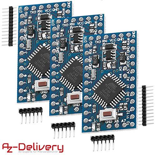 AZDelivery 3 x Pro Mini Modulo con ATMega328 5v 16MHz per Arduino con eBook