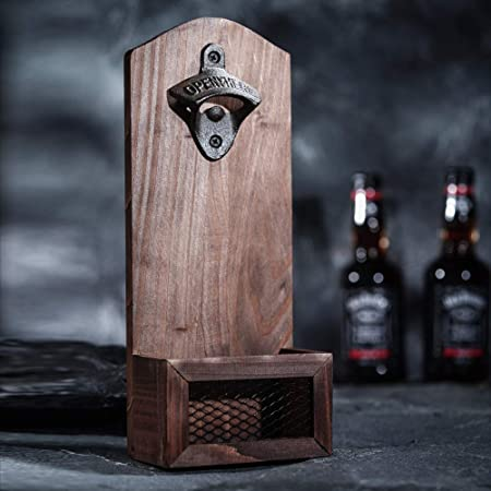 Novlety Beer Gift Carpe Cervesiam Bottle Opener Bottle Cap Catcher Magnetic or Wall Mount Clear Pouch
