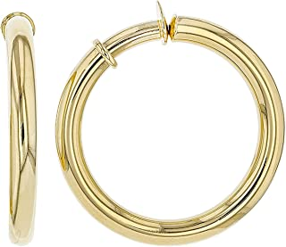 JTV-18k Yellow Gold Bronze Polished Clip On Tube Hoop Earrings