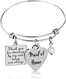 Maid of Honor Gift, Bridesmaid Gift, Wedding Gift, Maid of Honor Bangle Bracelet
