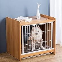 DHYBDZ Houten hondenkrat meubels met glijbaan, indoor draad hondenkennels met wielen, huisdier bijzettafel kooi voor klein...
