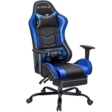ECOTOUGE PC Massage Gaming Chair with Footrest Ergonomic Office Desk Chair Racing PU Leather Recliner Swivel Rocker with Headrest and Lumbar Pillow, Blue