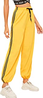 Women's Lightweight Quick Dry Striped Side Jogger Sweatpants with Pocket