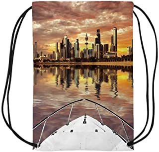 Travel Decor Personalized Drawstring Bag,Kuwait City Skyline From Sailboat Majestic Sky Skyscrapers Arabia Landscape Decorative for School Shopping,One_Size
