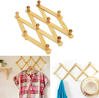 Webbee Craft Bamboo Wooden Expendable Peg Reg - Wall Mounted Coat Rack-Wooden Expendable