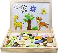 اسباب بازی چوبی پازل مغناطیسی کودکان و نوجوانان بازی های چوبی 109 قطعه دو طرف آموزش آموزش اسباب بازی برای کودکان