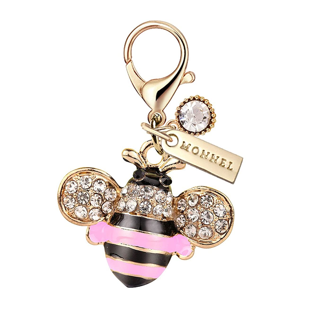 MC65 New Arrival Cute Crystal Pink Bee Lobster Charms Pendants with Pouch Bag (1 Piece)