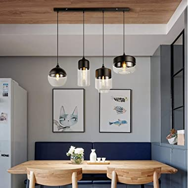 Europe Modern Loft Hanging 4 Lights Black Clear Color Glass Pendant Lamp Fixtures E27 LED Ceiling Lights Kitchen Restaurant B