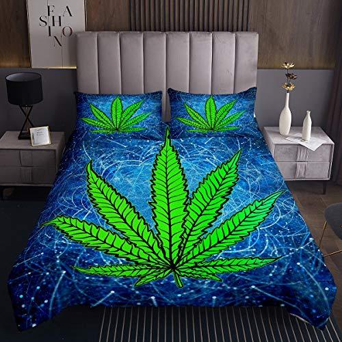 Juego de Colcha de Marihuana,Hojas de Cannabis,Colcha niños,niñas,Rayas geométricas,Colcha de Marihuana,Marihuana,Marihuana,Marihuana,Marihuana,Marihuana,cáñamo,Acolchada,2 Piezas de