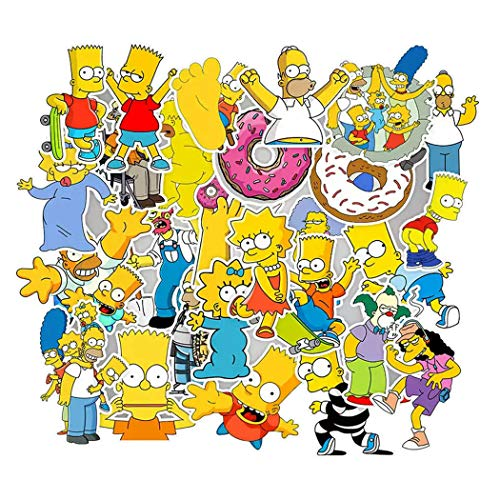 The Simpsons Cartoon Sticker 50 Pcs Waterproof, Removable,Cute,Beautiful,Stylish Teen Stickers, Suitable for Boys and Girls in Water Bottles, laptops, Phones,Guitar, Suitcase Durable Vinyl