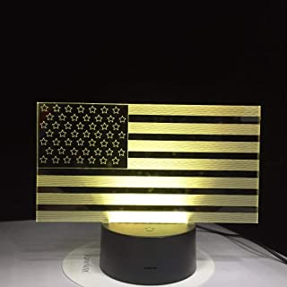 American Flag Stripes Shape Table Lamp 7 Color Changing USB Bedroom Decor 3D Led Night Lights Bedside Sleep Light Fixture Gifts Illusion Birthday