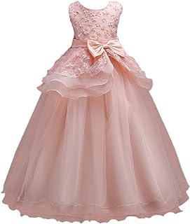 Zhhlaixing 高品質 キッズドレス Little Girl Dress Long 3D Beaded Flower Princess Party Wedding Dresses Formal Bridesmaid Christening Dress