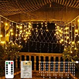 Icicle Lights 90 LED 10 ft Short Curtain Lights with 8 Modes Remote Control,Powerd by USB & Battery - Waterproof Fairy String Lights for Indoor & Outdoor,Holiday,Party,Window Decoration(Warm White)