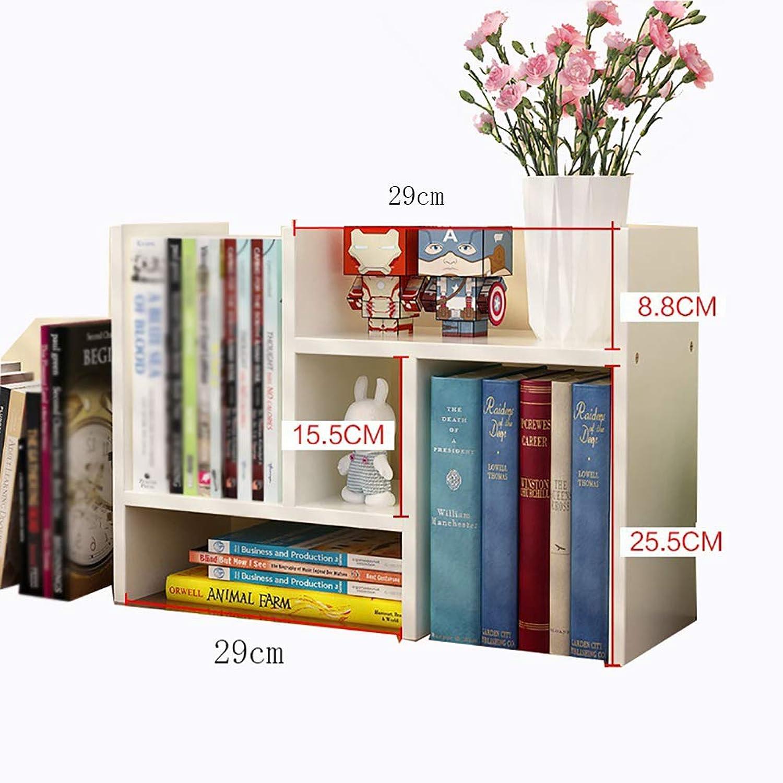 Creative Simple Desktop Small Bookshelf Bookcase Shelving Storage Display Rack Document Sorting, Study Room Office Kitchen,White