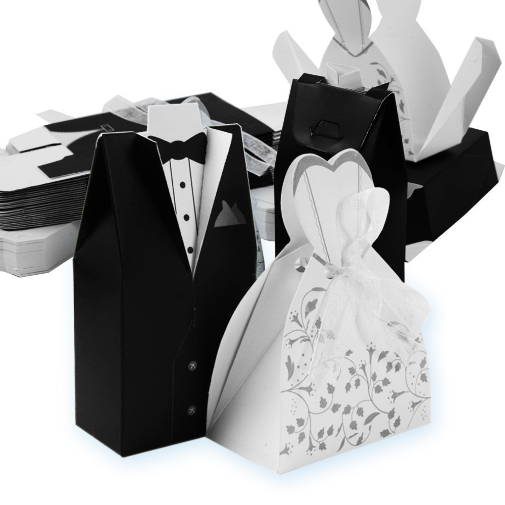 200pcs Bride and Groom Wedding Favour Boxes with 100pcs Ribbons Gift Boxes For Guest: Amazon.co.uk: Kitchen & Home