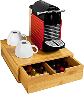 Bakaji Porte Capsules de Café Nespresso Dolce Gusto Lavazza Boîtee Rangement à Tiroirs Pour Capsules de Thé et Café en Bam...