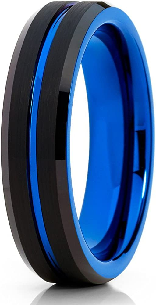 Silly Kings Blue Tungsten Wedding Band,Blue Tungsten Wedding Ring,6mm Blue Tungsten Ring,Anniversary Ring,Engagement Ring