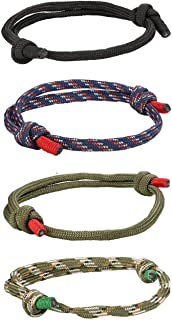 FIBO STEEL 4 Pcs Braided Nautical Bracelets for Men Handmade Navy Rope String Cool Bracelet Adjustable