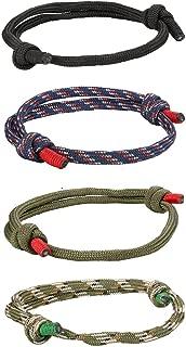 4 Pcs Braided Nautical Bracelets for Men Handmade Navy Rope String Cool Bracelet Adjustable