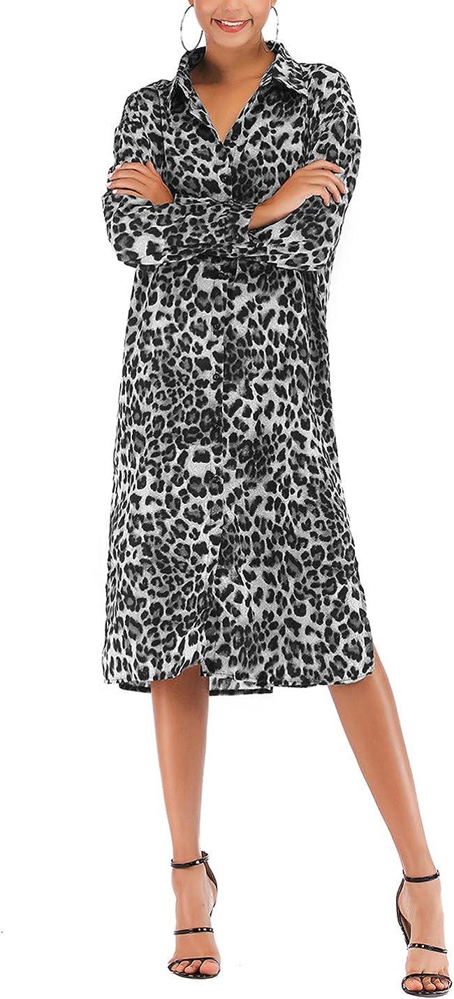 Gihuo Women's Casual Loose Leopard Print Long Sleeve Collared Chiffon Shirt Dress