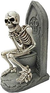 Pacific Trading Skeleton Toilet Thinker Pose Resin Figure - Handpainted Stone & Bone Details